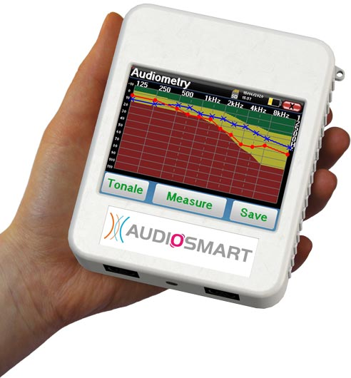 Handheld audiosmart device with audiometry graph