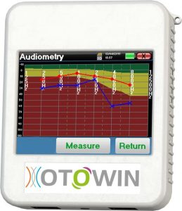 Otowin device with an audiometry measurement